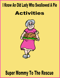 free printables i know an old lady who swallowed a pie activities