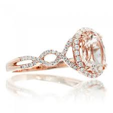 morganite engagement ring gold engagement ring diamond halo oval 10x8 twist shank gold band