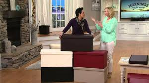 faux leather folding 2 pc ottoman set or storage bench by fhe on