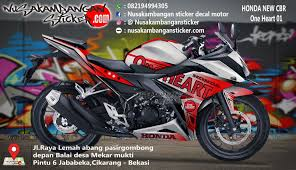 cbr r150 decal striping honda cbr 150 all new putih one heart 01