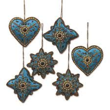 teal and gold embroidered and beaded ornaments set of 6 teal