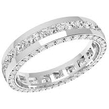 18ct white gold wedding ring princess cut diamond set eternity wedding ring in 18ct