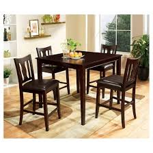 mibasics 5pc curvy cutout back chair counter dining table set wood