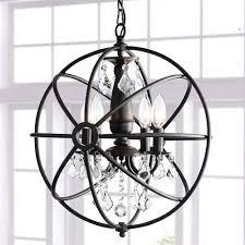 Black Chandelier Lighting by Benita Antique Black 4 Light Iron Orb Crystal Chandelier Free