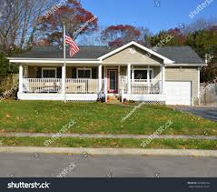 American House Flag American Flag Pole Suburban Ranch Style Stock Photo 245882254