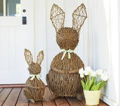 easter bunny decorations make bunny and kids with white flowers for outdoor easter