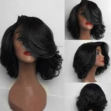 featheres sides bob hairstyle synthetic wigs black short deep side parting flip curly