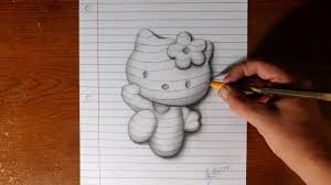 how to draw hello kitty line paper trick art youtube
