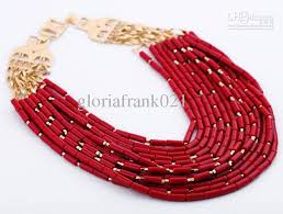 coral beads necklace images Multiple strands of acrylic coral beads necklace fashion women jpg