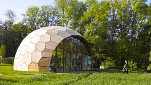 robots built this peanut shaped geometric building from 243 prefab