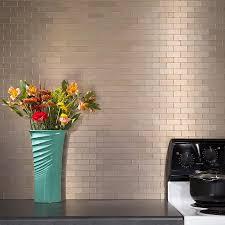 Mini Subway Tile Kitchen Backsplash Peel And Stick Matted Metal Backsplash Tiles Aspect
