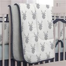 silver gray deer head crib bedding carousel designs