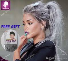 is island medium hair a wig virgin brazilian glueless ombre grey lace front wig two tone grey