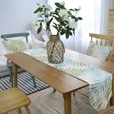 table runner for coffee table modern table runner polyester blue green leaves tropical plant print