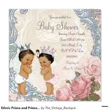 ethnic prince and princess twin baby shower invitation twin