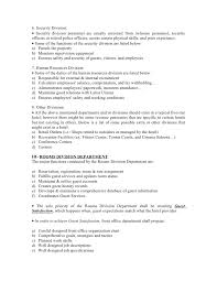 Hotel Security Job Description Resume by Rooms Division Department