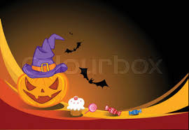 halloween background with scary pumpkins bats cat eyes and a