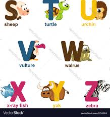 alphabet animals from s to z royalty free vector image