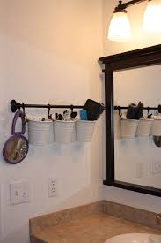 painted thrift store shower curtain hooks counter space spaces great idea to clear up counter space in bathroom love it