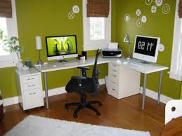 Decorating Small Home Office Small Home Office Interior Design Ideas With Green Wall Color