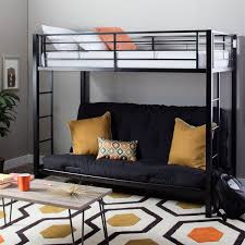 modern black metal twin bunk bed with futon free shipping today