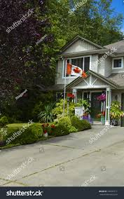 Flag British Columbia Entrance House Canadian Flag On Front Stock Photo 160763111