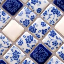 porcelain tile shower white and blue square mosaic floor tiling