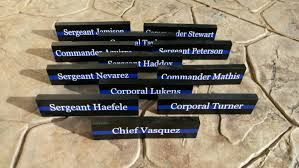 thin blue line desk plaque police name plate police officer