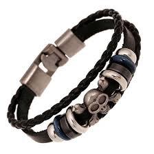 bracelet men skull images Anchor men skull leather bracelet jpg