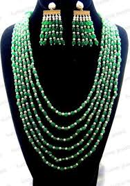 multi layer beaded necklace images Women party wear green multi layer bead necklace rs 3740 set jpg