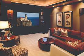 home theater screen fabric black track lamp and large screen on the wall connected by cream
