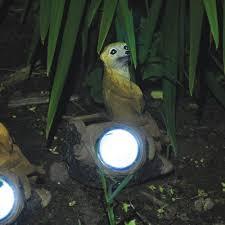 meerkat solar light garden light on log garden ornament border light