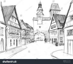 pencil grayscale sketch small old town stock illustration