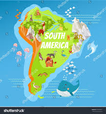 Map If South America Cartoon Map South America Continent Riversmountains Stock Vector