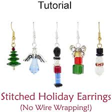 stitched christmas holiday beaded earrings beading pattern