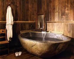Rustic Bathroom Decor by Rustic Bathroom Decor With Hardwood Flooring On Walls And Oval