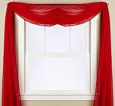 Sheer Swag Curtains Valances Amazon Com Gorgeous Home 1 Pc Solid Red Scarf Valance Soft Sheer