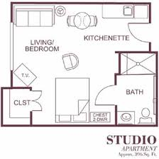 Sample Floor Plan Of Our Studio Style Assisted Living Apartments - One bedroom apartment designs example