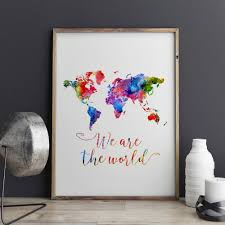 World Map Art Print by Aliexpress Com Buy Watercolor World Map Art Print Painting Wall