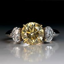 fancy yellow diamond engagement rings 2 50 ct fancy color diamond three engagement ring antique