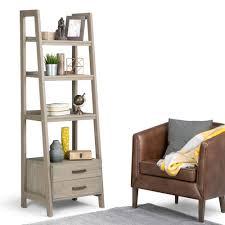 simpli home sawhorse medium saddle brown ladder bookcase 3axcsaw