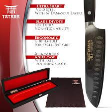 Damascus Kitchen Knives For Sale Amazon Com Tatara Santoku Knife Japanese Sushi Knife For Chefs 7