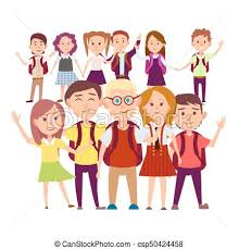 classmates search clipart vector of joint snapshot of classmates 11 pupils on white
