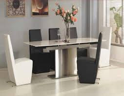 futuristic tempered glass curved base dining table black high