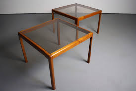 Teak Tables Stunning Pair Of Tall Teak End Tables With Smoked Glass Tops U2013 Abt