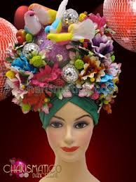 floral headdress green turban based tropical floral headdress with birds