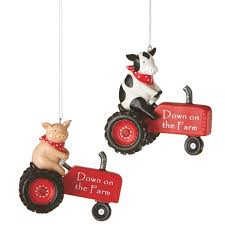 on the farm tractor ornaments set of 2