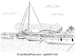 sketch of white yachts in the port waiting on the sea is