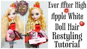 Ever After High Apple White Doll How To Restyle Ever After High Apple White Doll Hair Tutorial