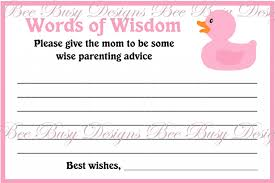 words of wisdom cards printable yellow pink blue girl monkey baby shower words of wisdom